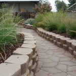 CA native bunch grasses line this walkway of raisied containers.